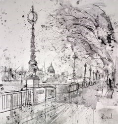 The Queens Walk, London by Tim Steward -  sized 29x31 inches. Available from Whitewall Galleries